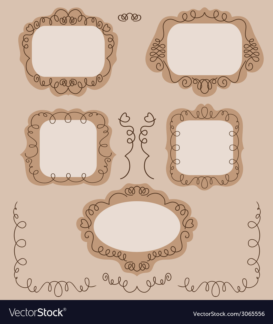 Set of vintage frames with flowers vector   Price: 1 Credit (USD $1)
