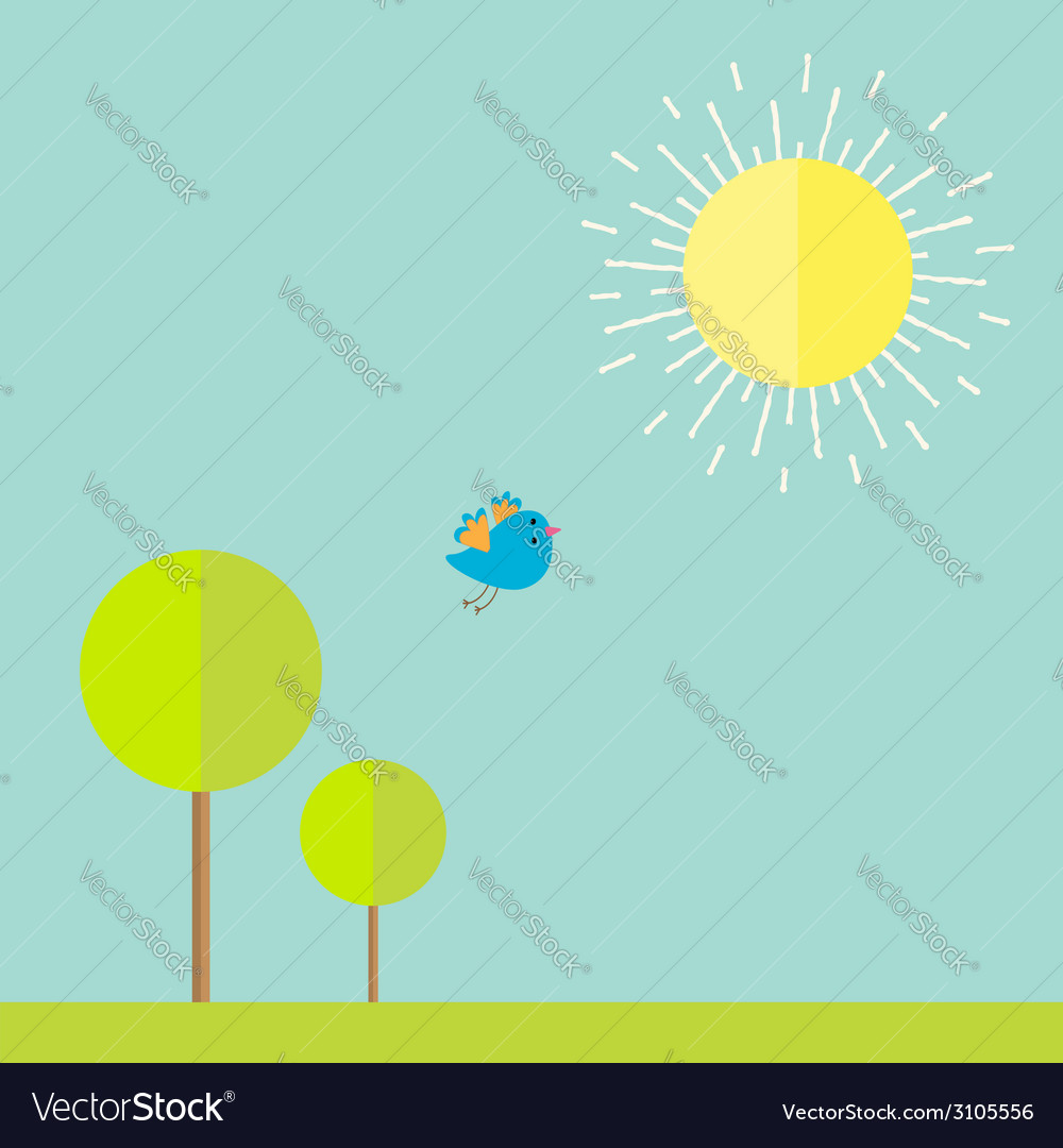 Sun sky tree grass bird summer landscape in flat vector | Price: 1 Credit (USD $1)