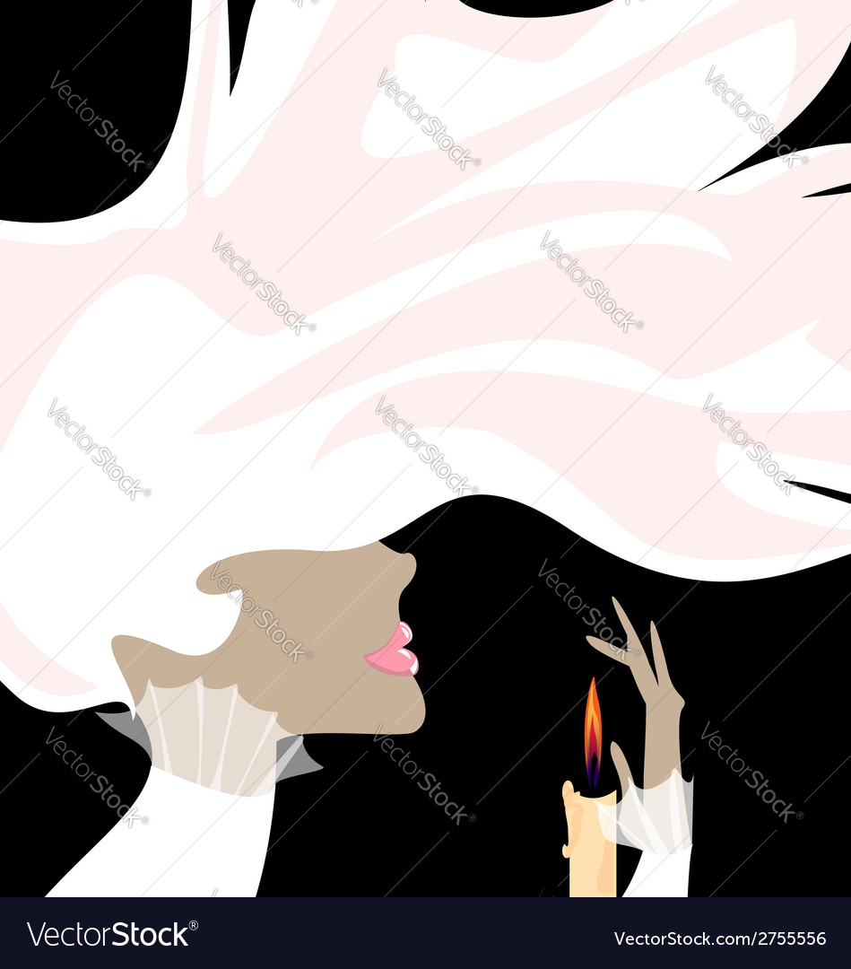White lady and candle vector | Price: 1 Credit (USD $1)