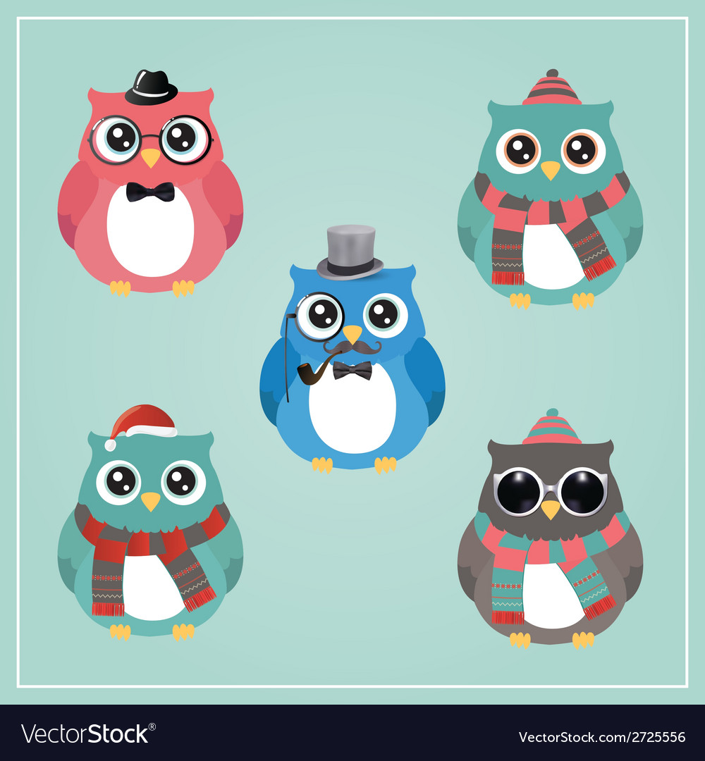 Winter hipster owl vector | Price: 1 Credit (USD $1)