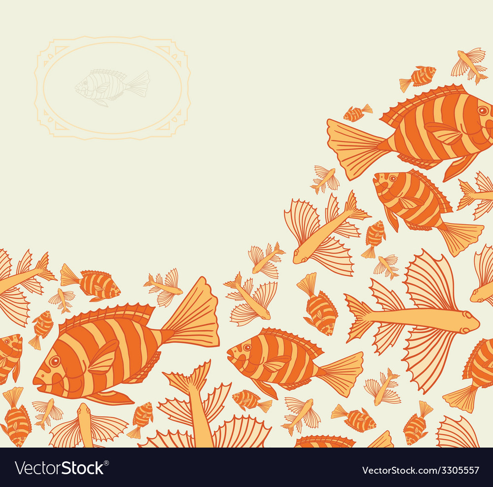 Abstract template for greeting card with fishes vector | Price: 1 Credit (USD $1)
