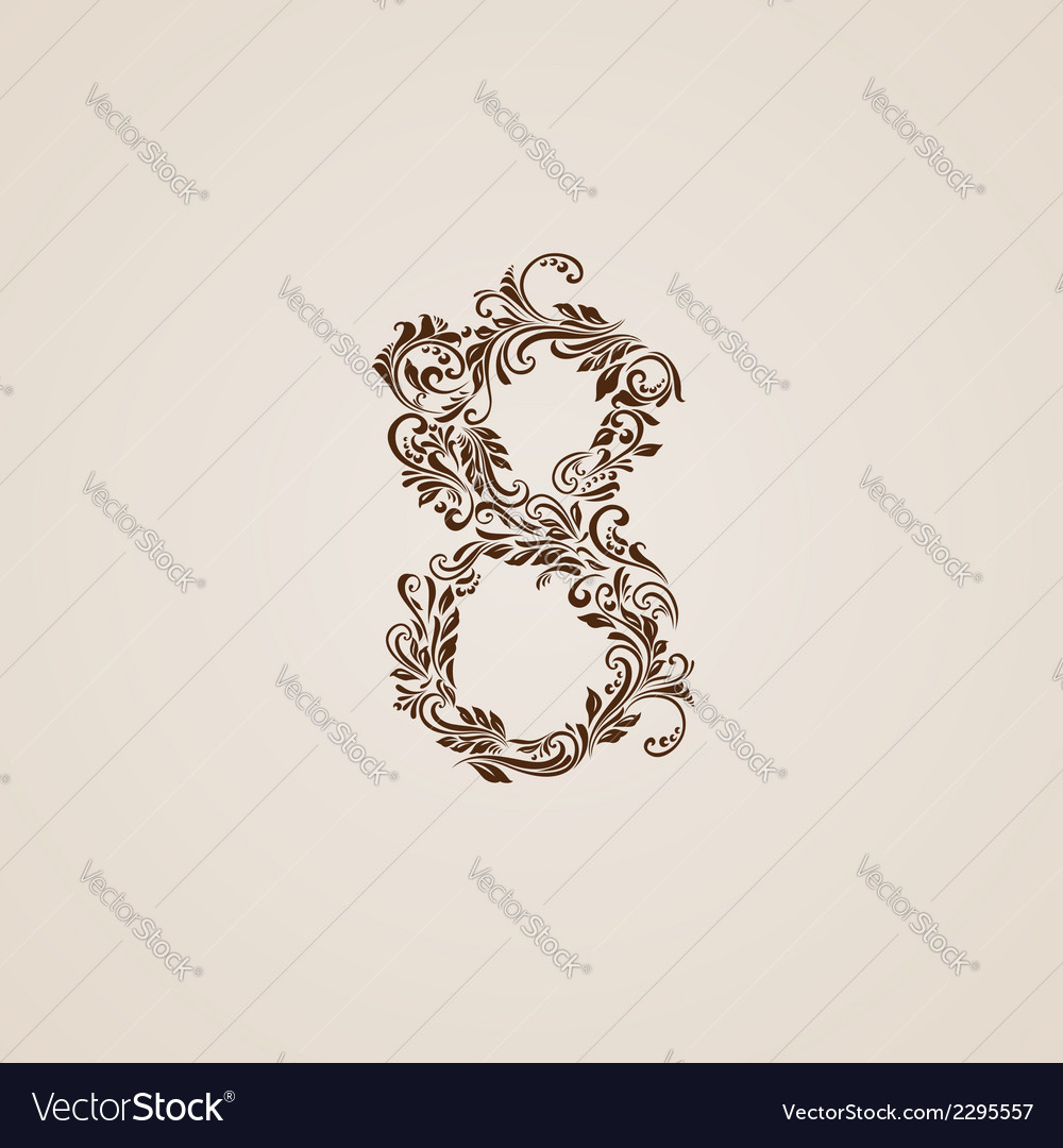 Decorated nine eight on beige vector   Price: 1 Credit (USD $1)