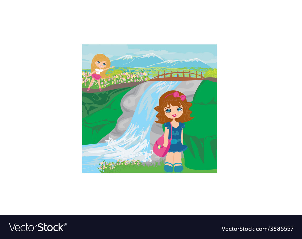 Girls are playing nearby waterfall vector | Price: 1 Credit (USD $1)