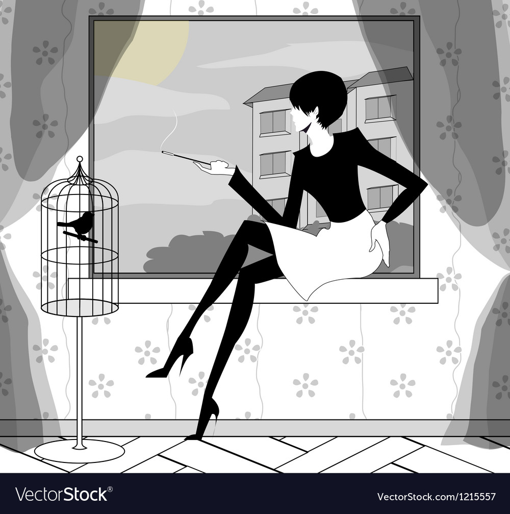 Gothic girl smokes near a window vector | Price: 1 Credit (USD $1)