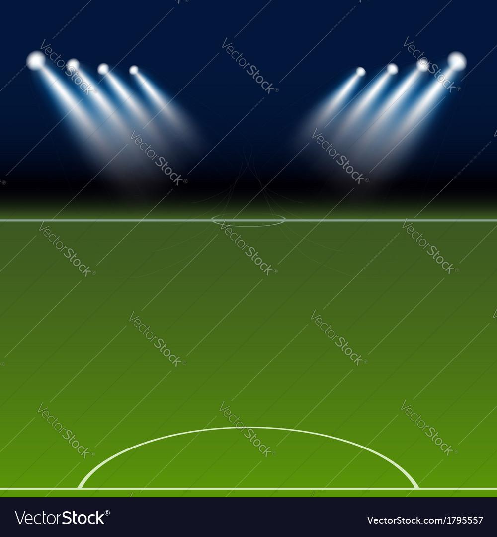 Green soccer field bright spotlights vector | Price: 1 Credit (USD $1)