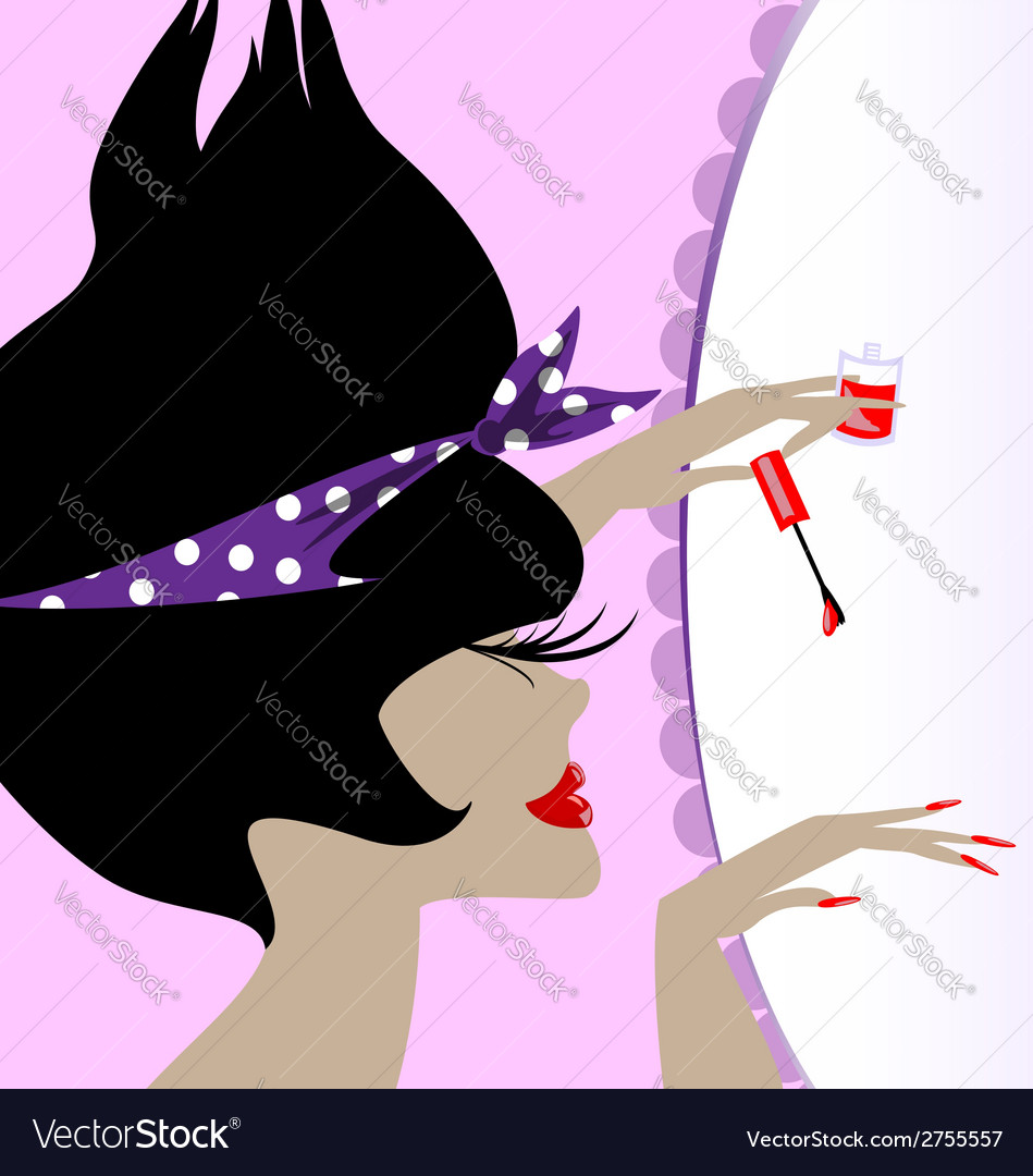 Lady and nail polish vector | Price: 1 Credit (USD $1)