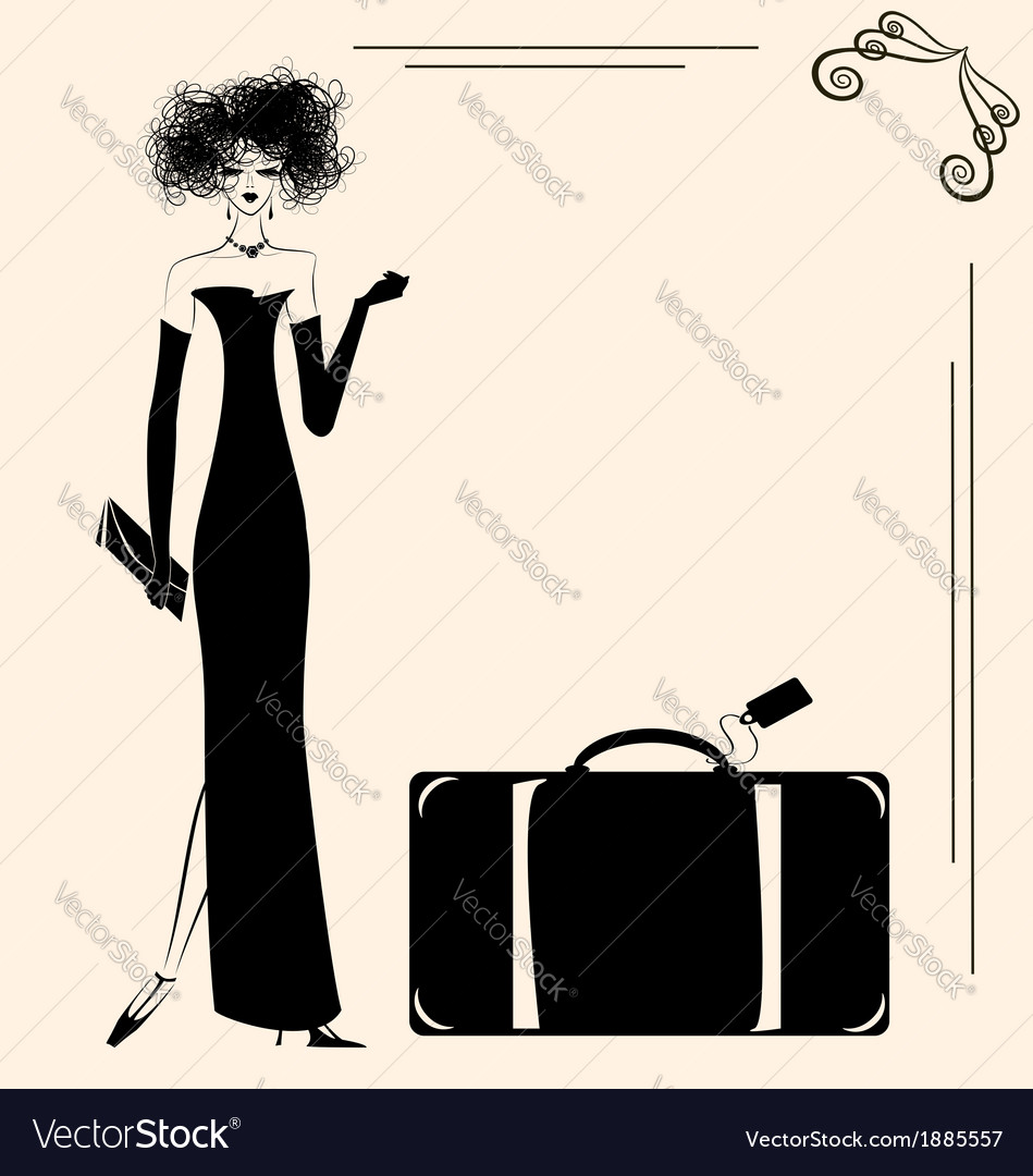Lady and suitcase vector | Price: 1 Credit (USD $1)