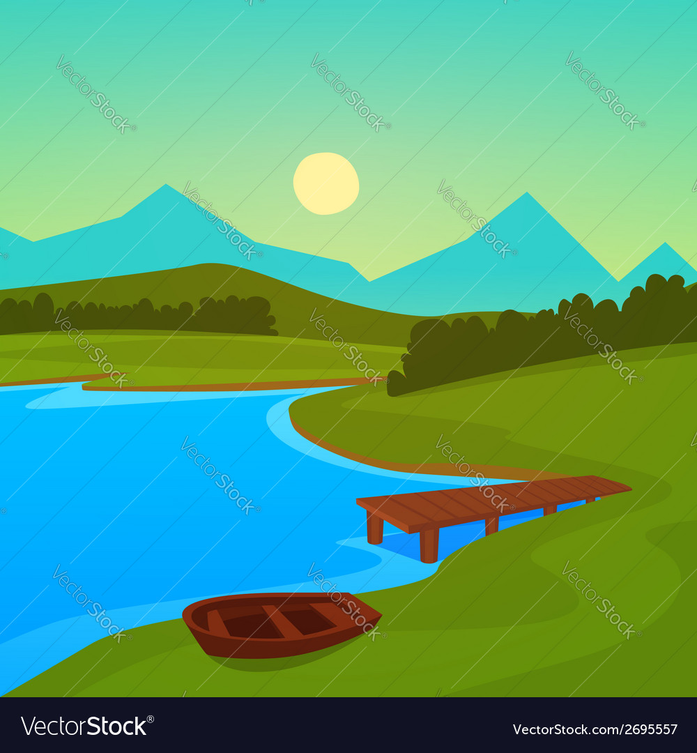 Lake dock vector | Price: 1 Credit (USD $1)