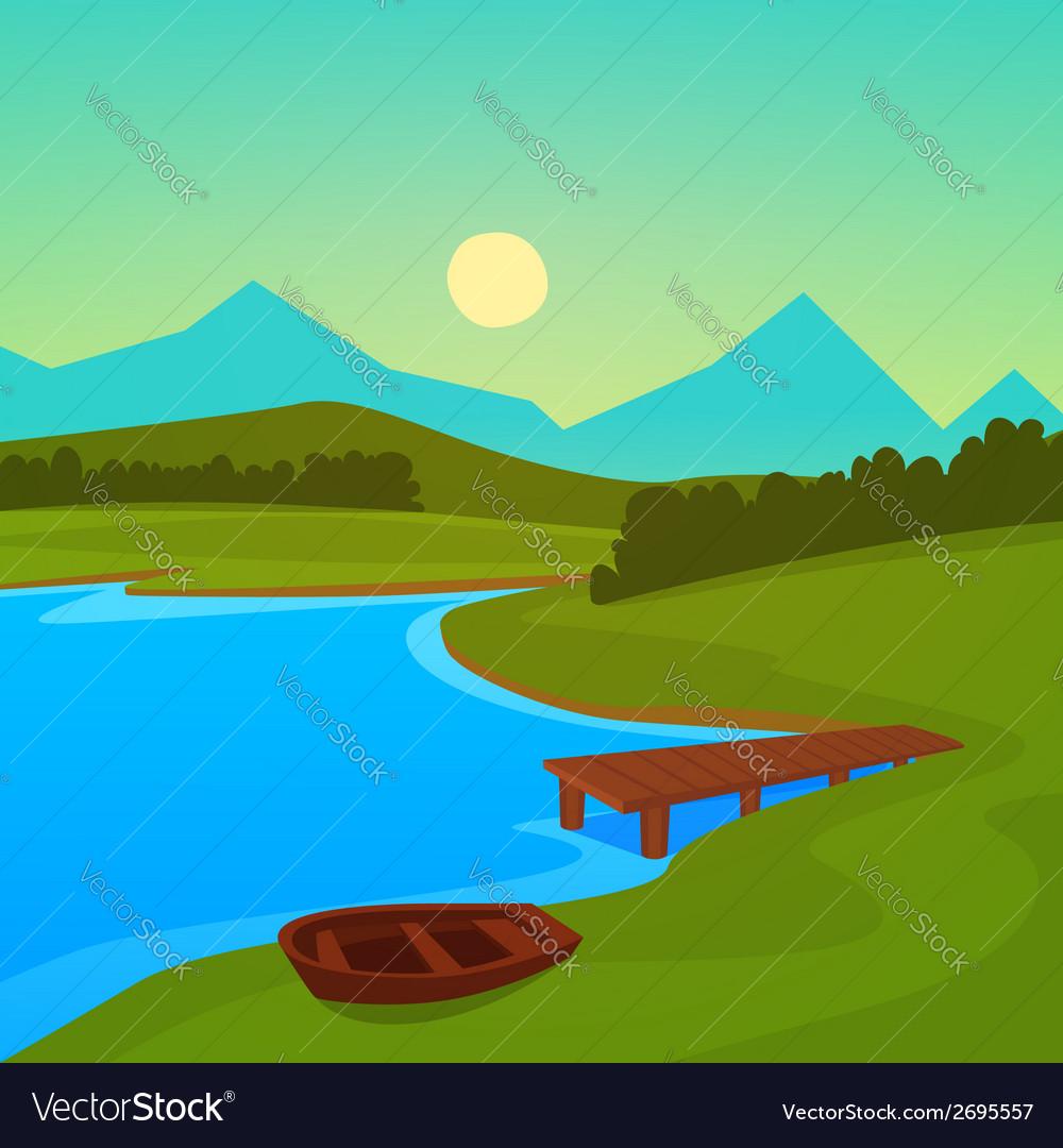 Lake dock vector | Price: 1 Credit (USD $1)