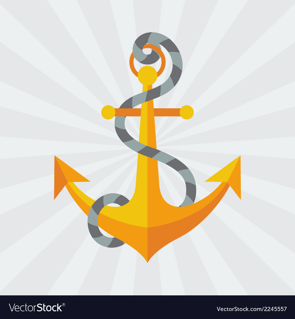 Nautical anchor with rope in flat design style vector | Price: 1 Credit (USD $1)