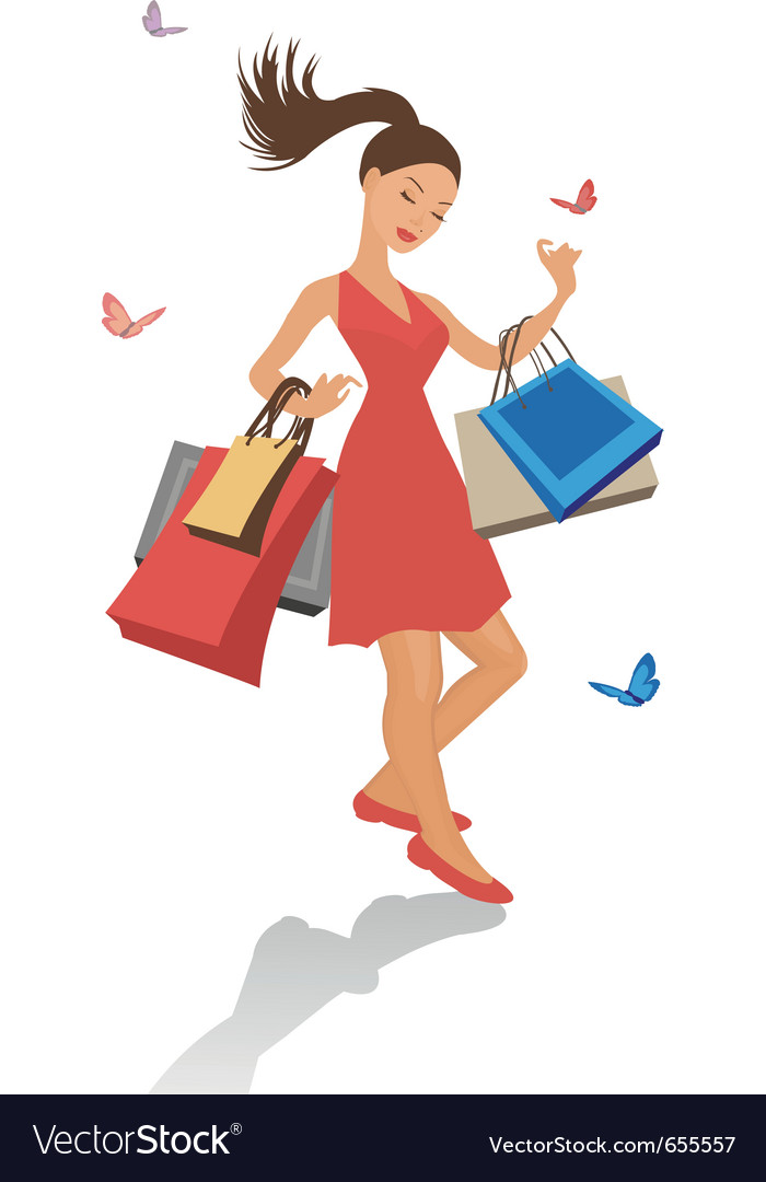 Pretty shopping girl vector | Price: 1 Credit (USD $1)