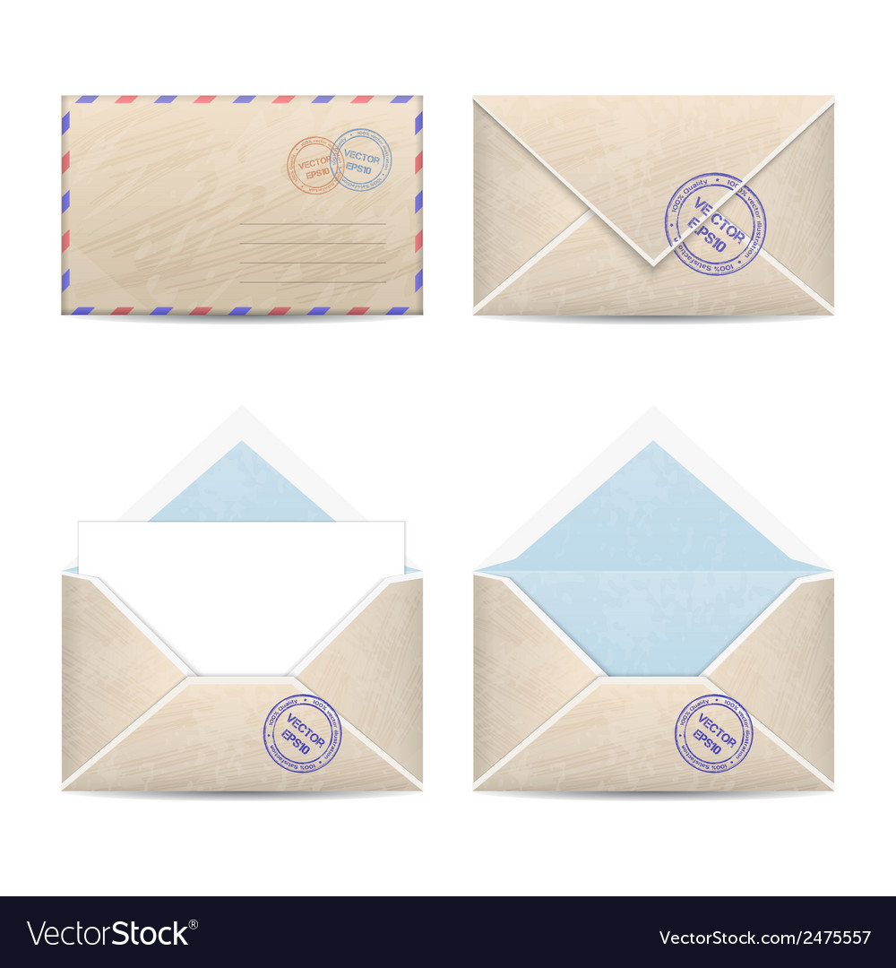 Set of vintage envelopes vector | Price: 1 Credit (USD $1)