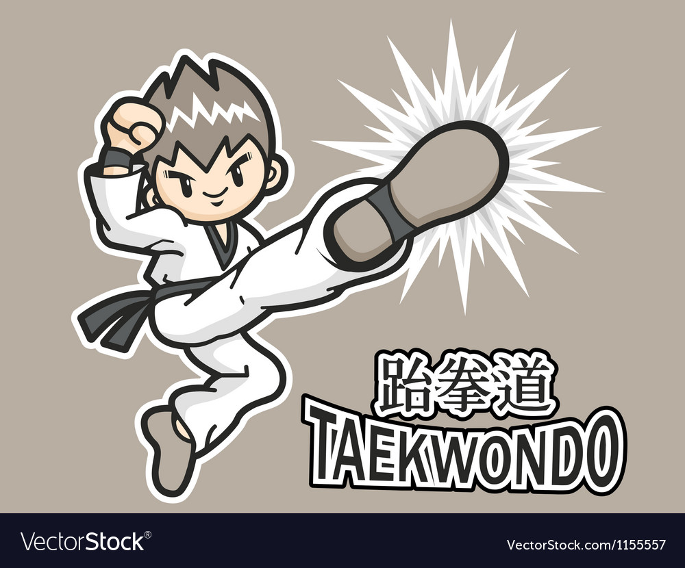 Taekwondo exercise in boys mascot vector | Price: 1 Credit (USD $1)