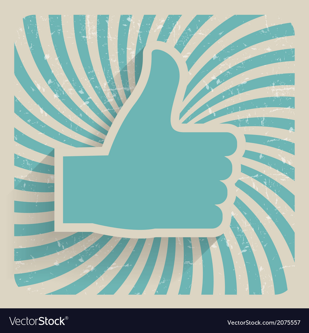 Thumb up retro grunge symbol vector | Price: 1 Credit (USD $1)