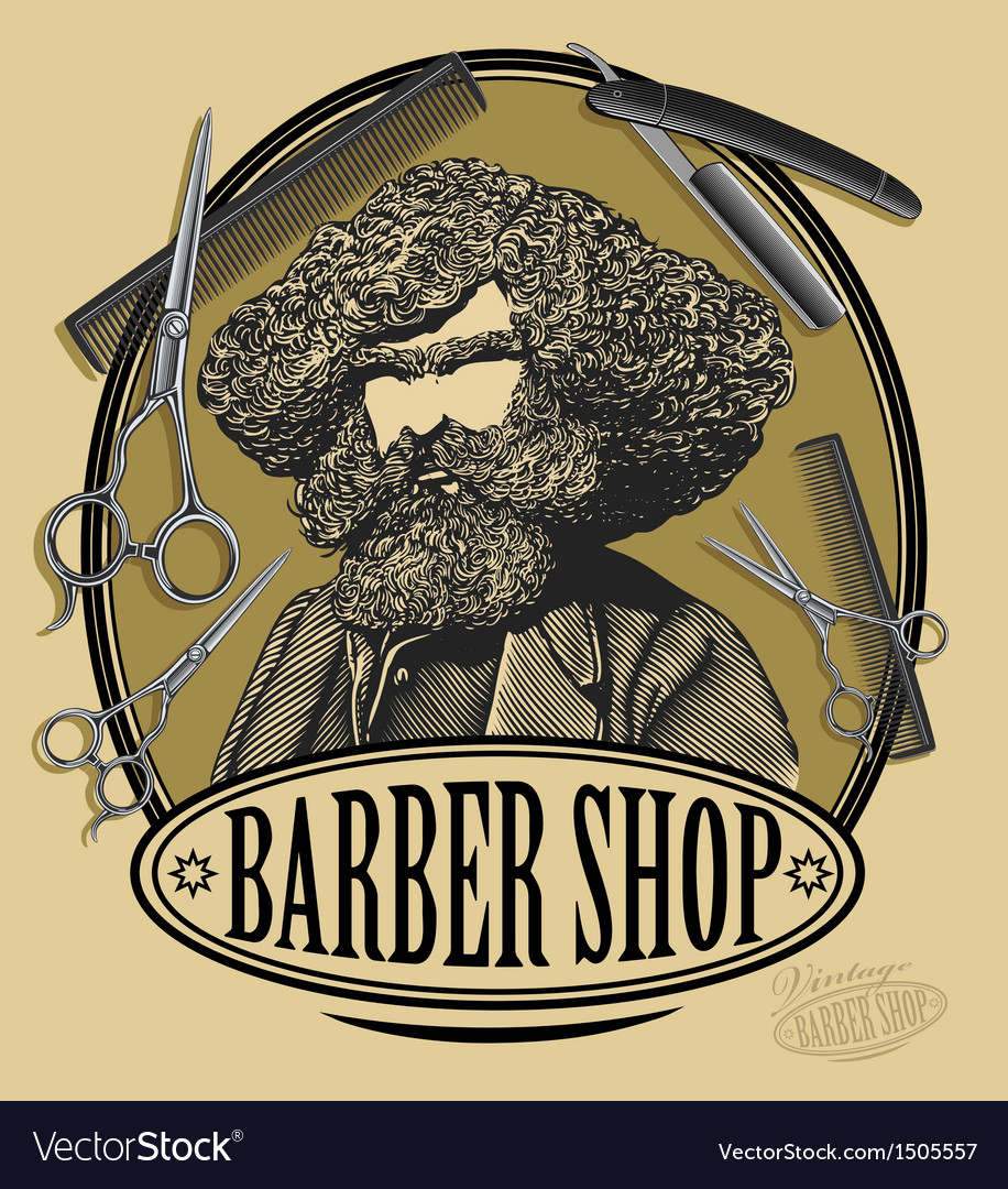 Vintage barber shop sign board vector | Price: 3 Credit (USD $3)