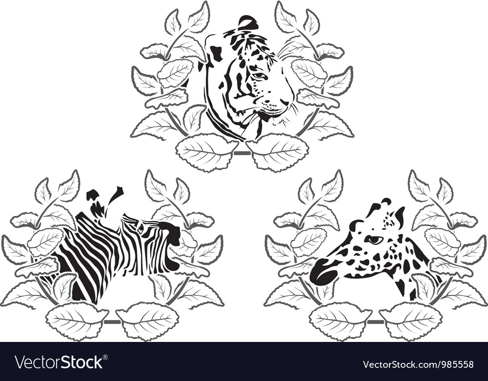 Animals stencil set vector | Price: 1 Credit (USD $1)