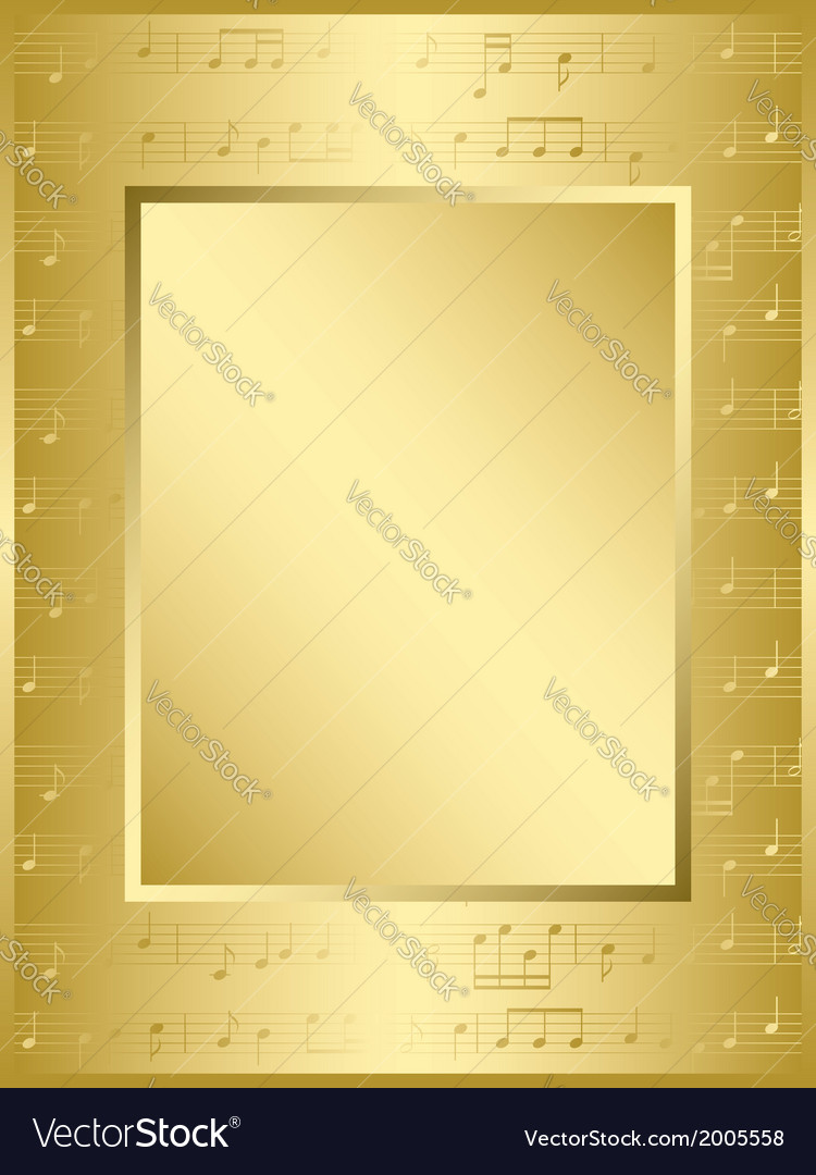 Bright gold frame with music notes vector   Price: 1 Credit (USD $1)
