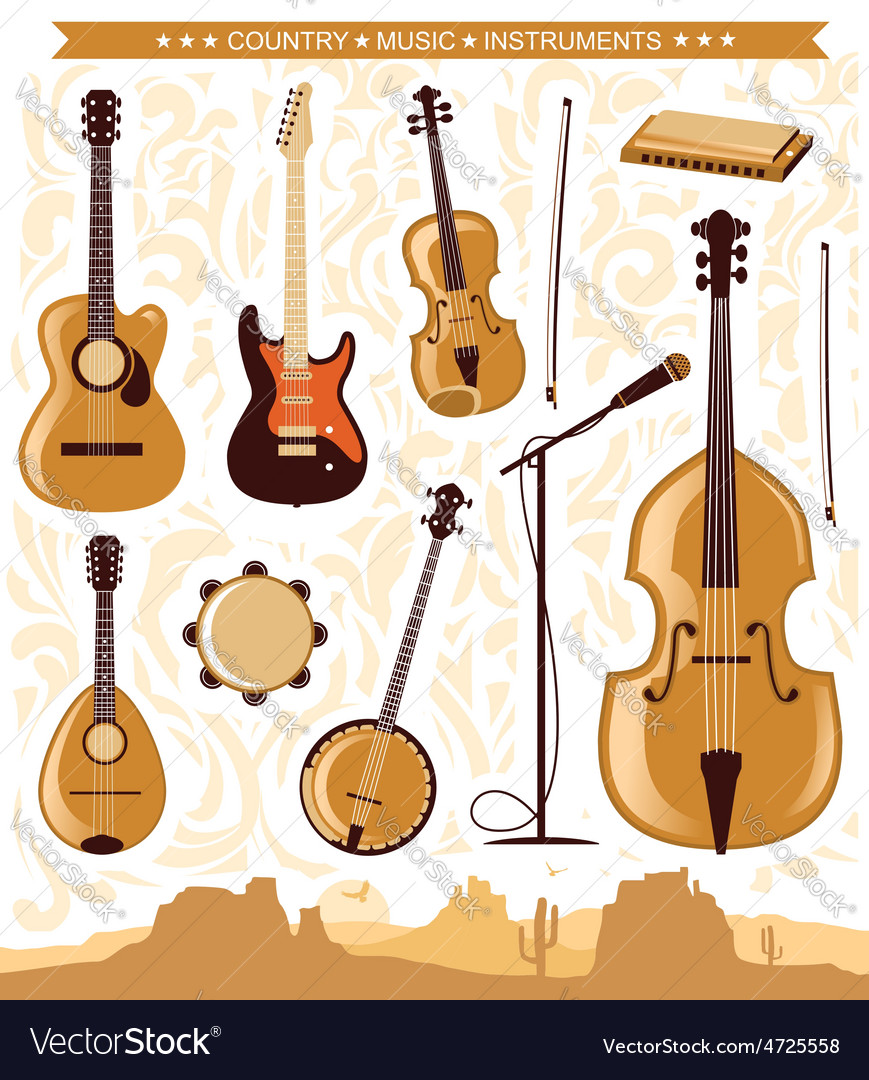 Country music instruments for design vector | Price: 1 Credit (USD $1)