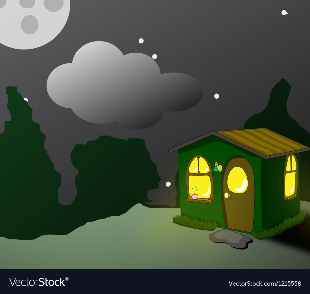 Fantastic green lodge at night vector | Price: 1 Credit (USD $1)
