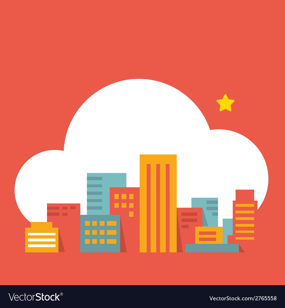 Flat style modern city in the cloud vector | Price: 1 Credit (USD $1)