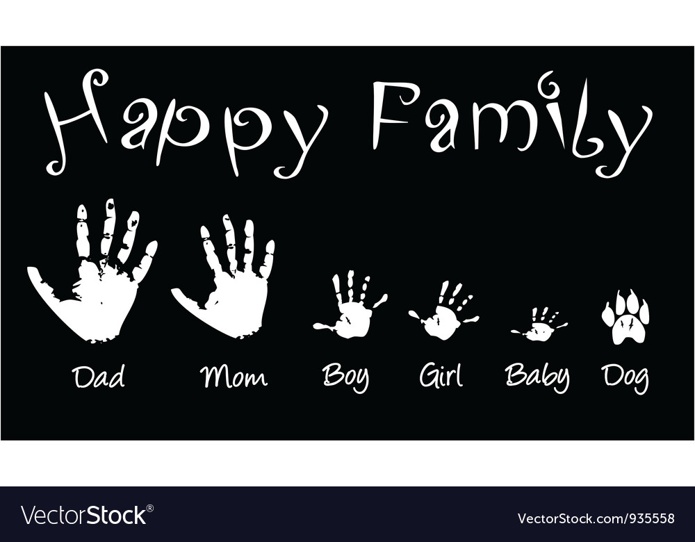 Handprints of whole family vector | Price: 1 Credit (USD $1)