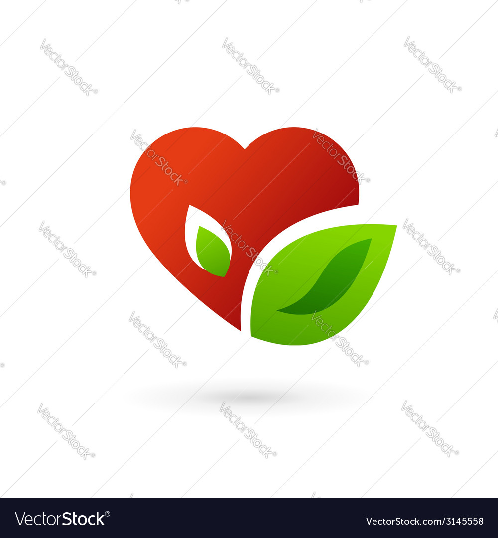 Heart and leaves symbol logo icon vector | Price: 1 Credit (USD $1)