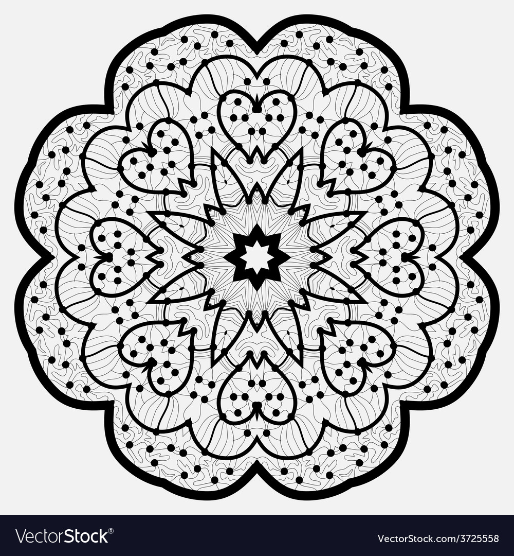 Mandala round ornament pattern in black color vector | Price: 1 Credit (USD $1)