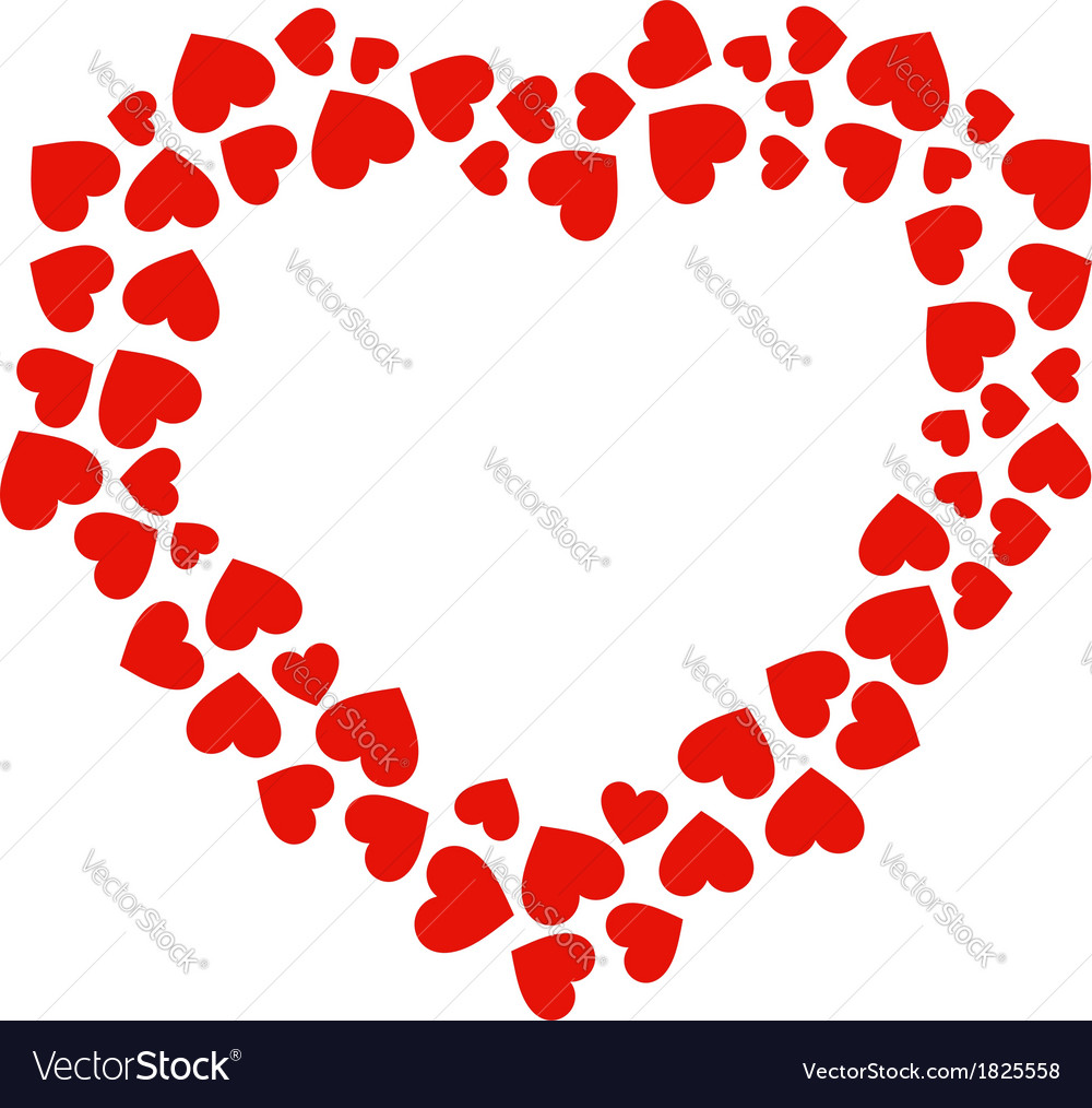 Outline of a heart with hearts vector