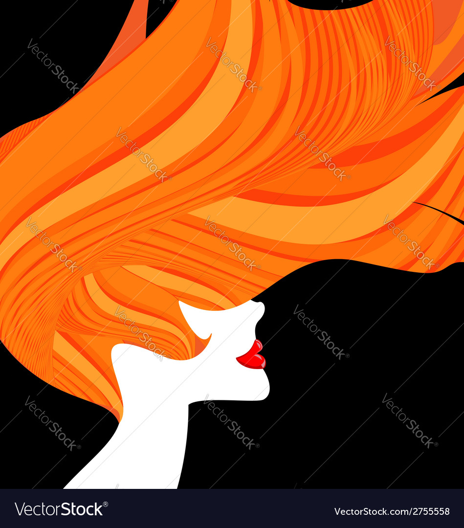 Red-haired head of a woman vector | Price: 1 Credit (USD $1)