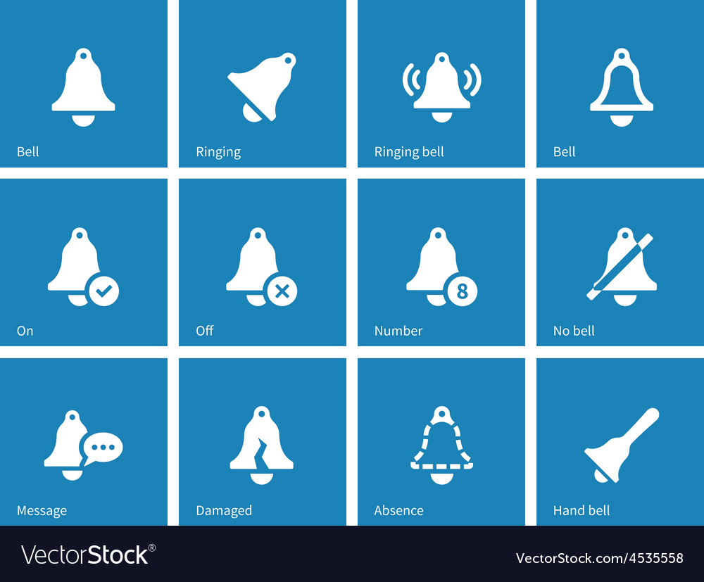 Ringing icons on blue background vector | Price: 1 Credit (USD $1)