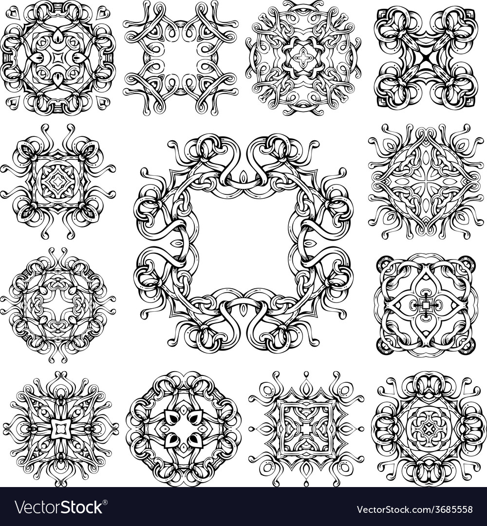 Set of vintage geometric ornaments vector | Price: 1 Credit (USD $1)