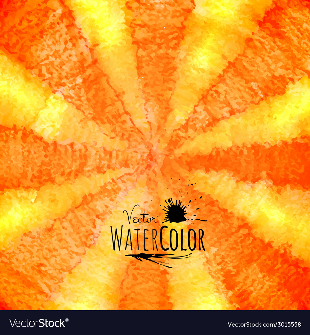 Watercolor striped radiant pattern yellow orange vector | Price: 1 Credit (USD $1)