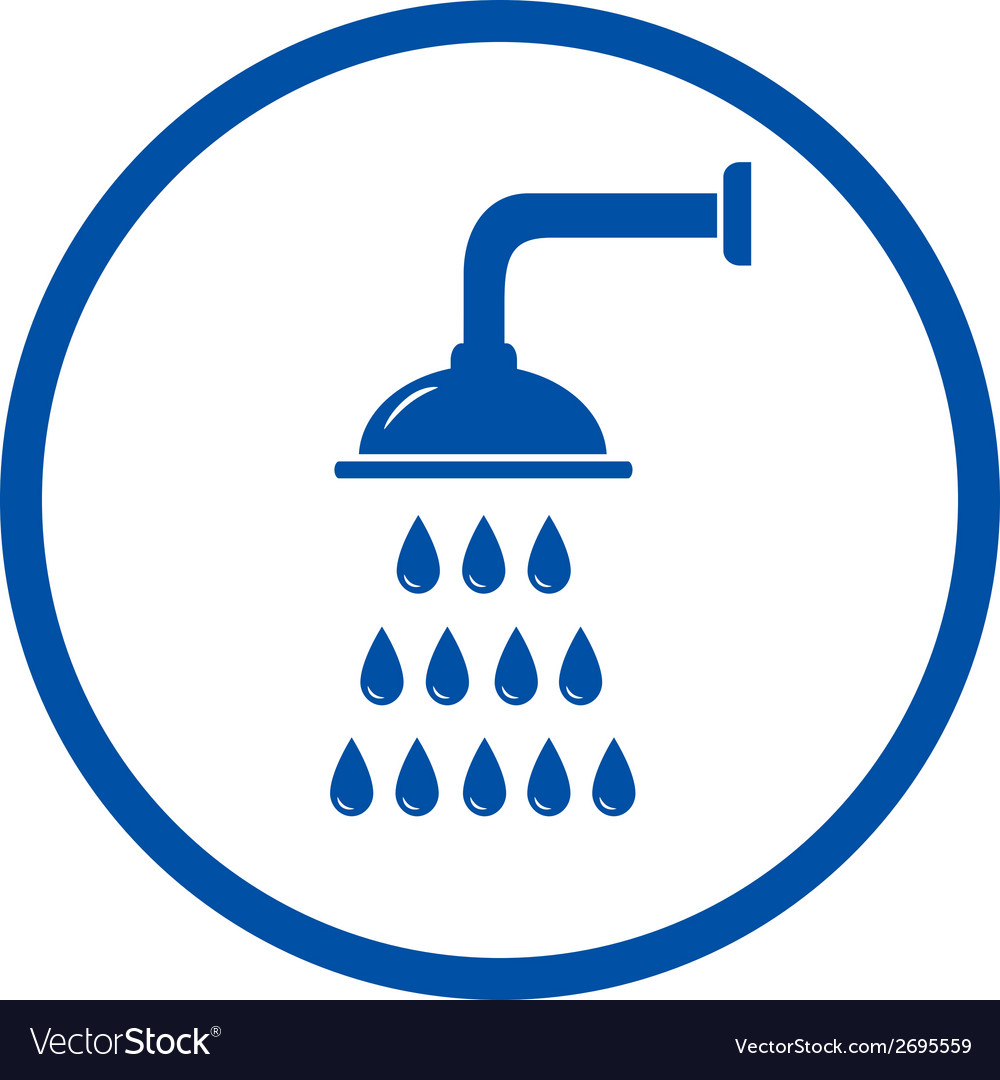 Blue sign with shower head vector | Price: 1 Credit (USD $1)