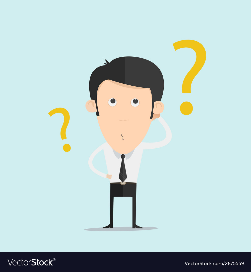Business man scratches his head in indecision on a vector | Price: 1 Credit (USD $1)