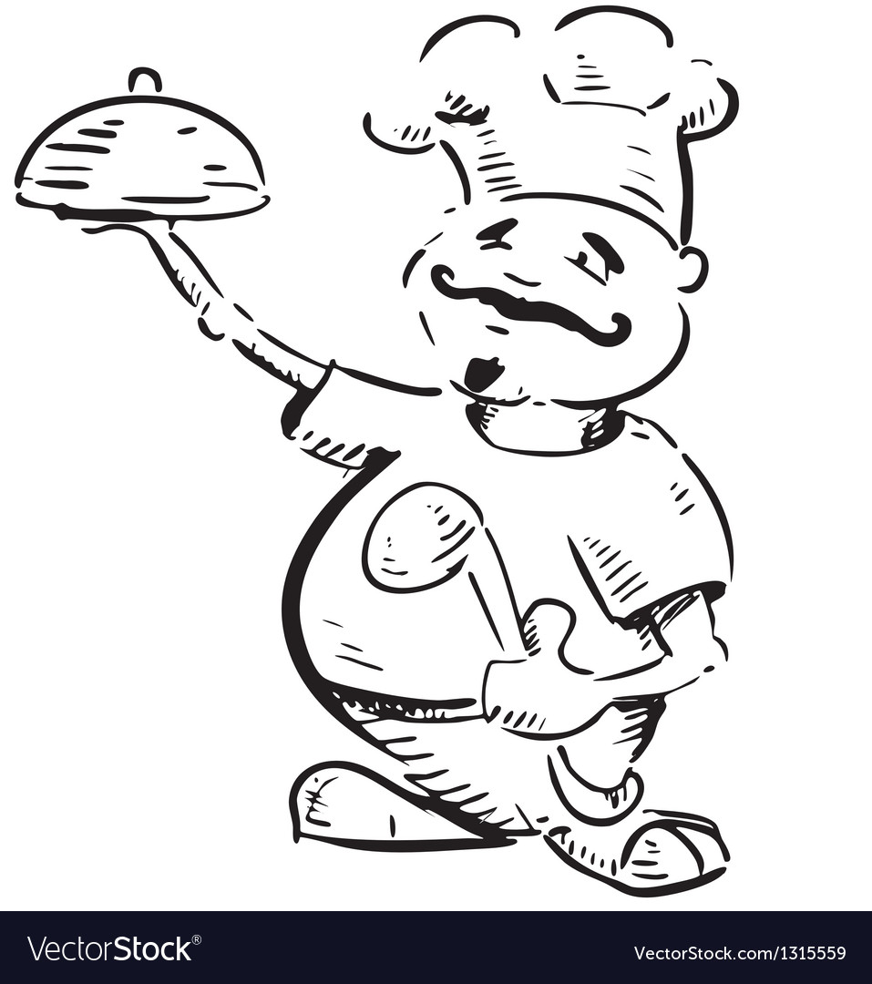 Chef with tray of food in hand vector | Price: 1 Credit (USD $1)