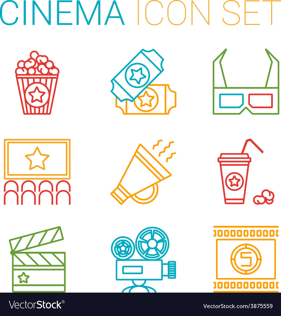 Flat line icons set of professional film vector   Price: 1 Credit (USD $1)