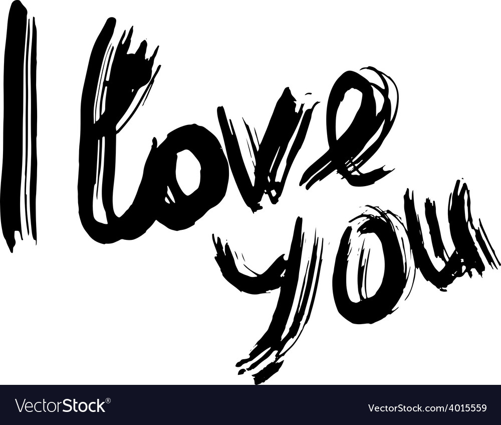 I love you hand lettering handmade calligraphy vector | Price: 1 Credit (USD $1)