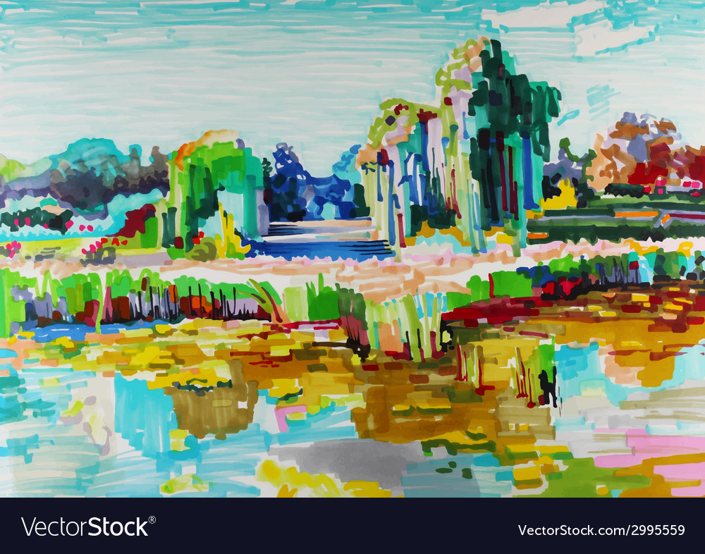Marker painting of landscape vector   Price: 1 Credit (USD $1)
