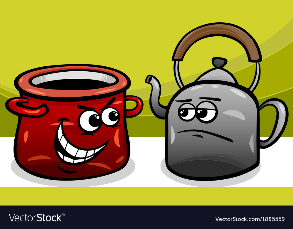Pot calling the kettle black cartoon vector | Price: 1 Credit (USD $1)