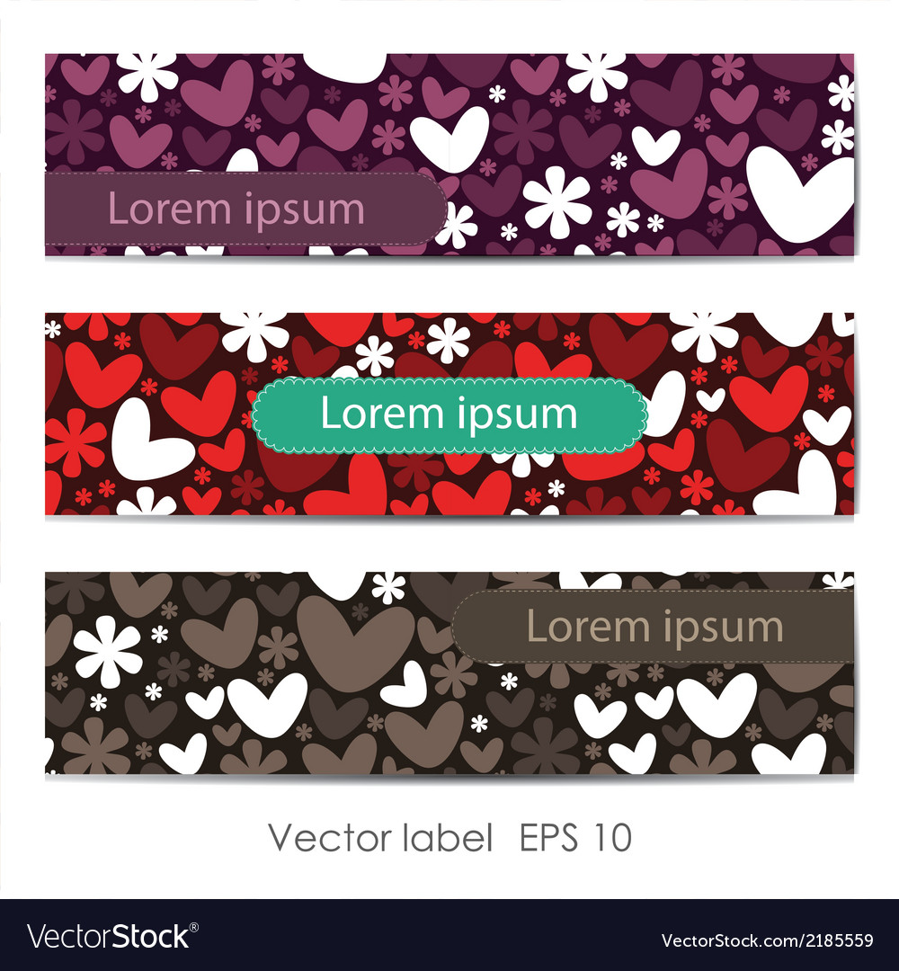 Set of three cards with hearts vector | Price: 1 Credit (USD $1)