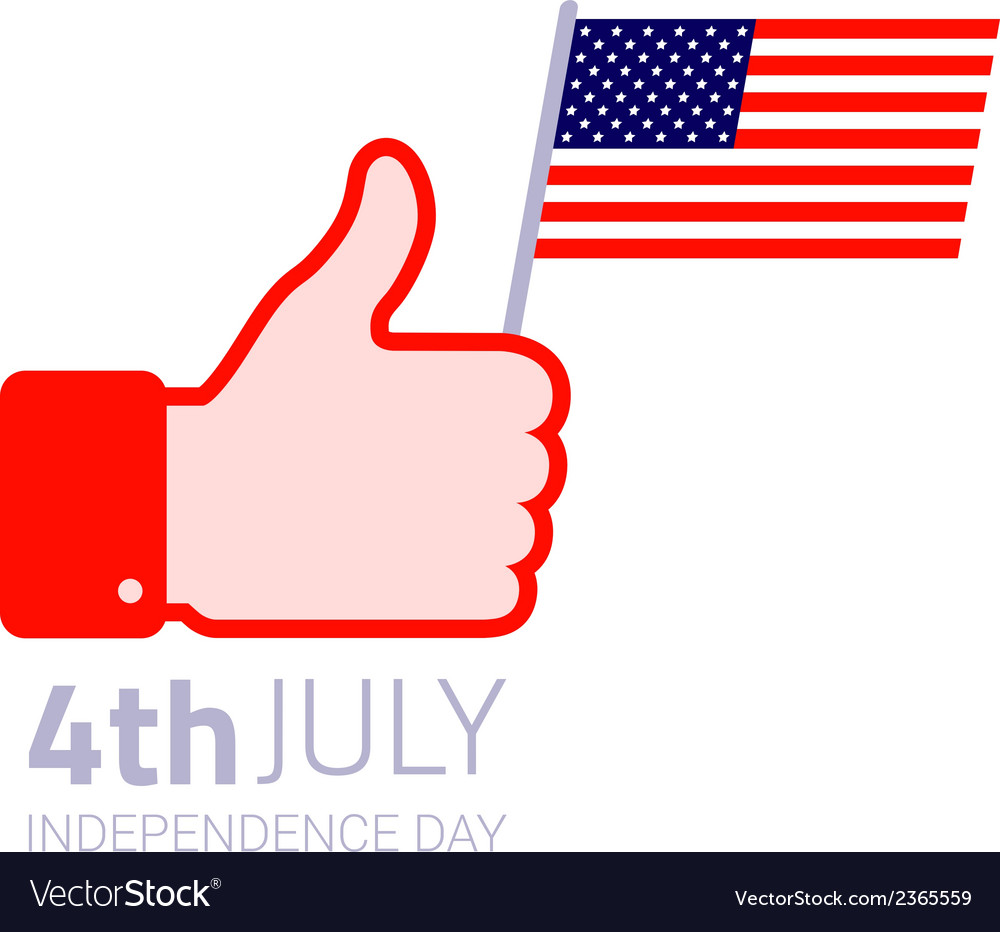 Thumb up hold american flag icon vector | Price: 1 Credit (USD $1)
