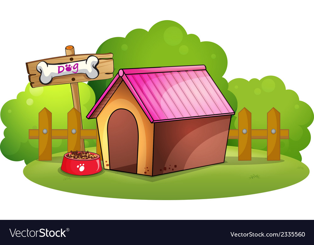 A doghouse near the wooden fence vector | Price: 1 Credit (USD $1)