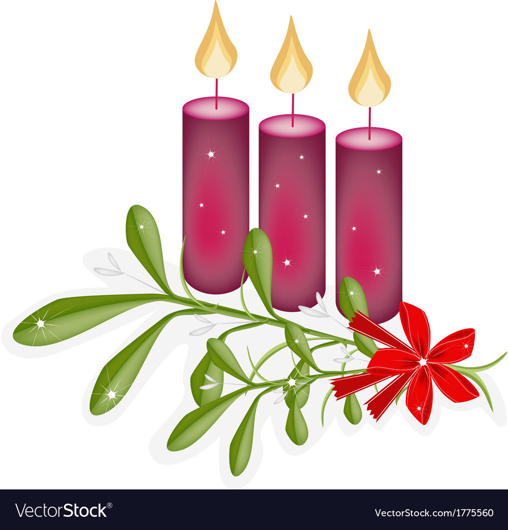 A green mistletoe and three christmas candles vector | Price: 1 Credit (USD $1)