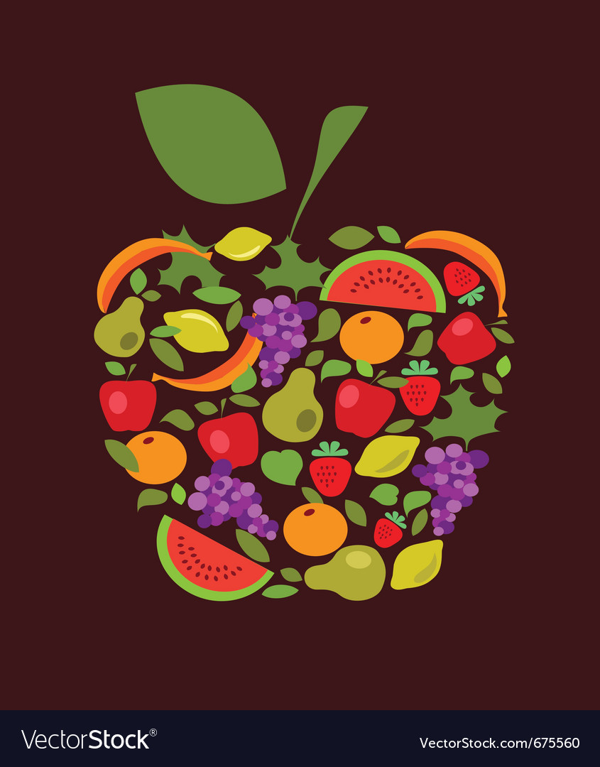 Apple with fruits and vegetables pattern vector | Price: 1 Credit (USD $1)