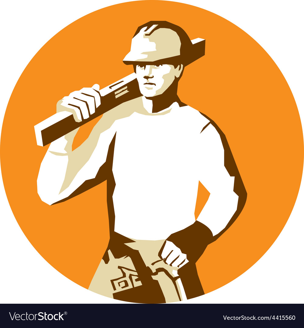 Builder construction worker spirit level toolbelt vector | Price: 1 Credit (USD $1)