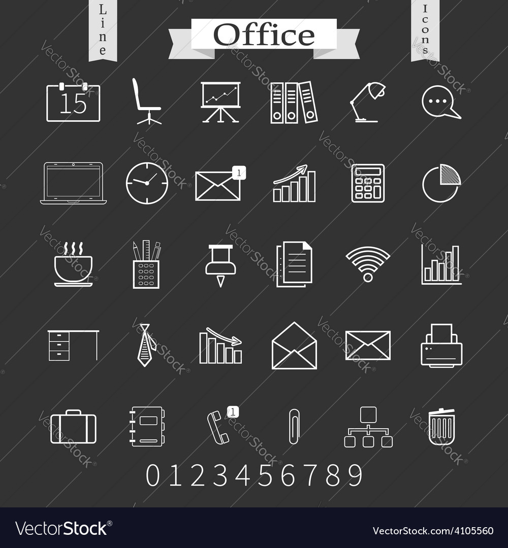 Business and office thin icons set trendy line vector | Price: 1 Credit (USD $1)
