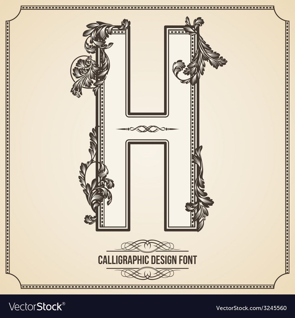 Calligraphic font letter h vector | Price: 1 Credit (USD $1)
