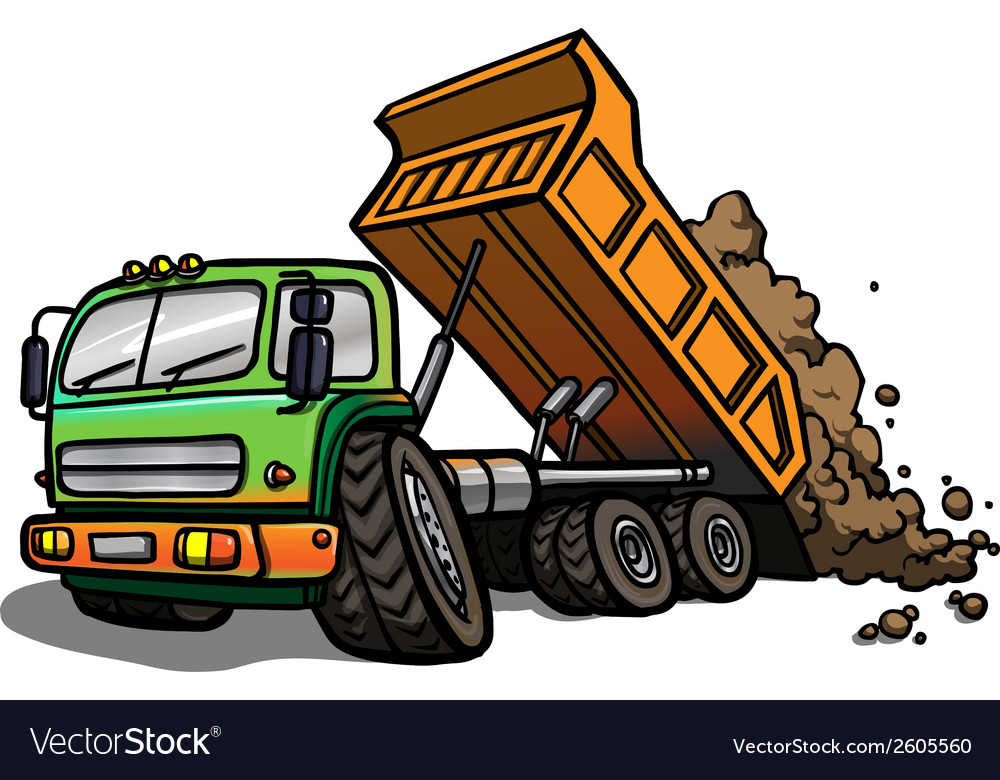 Cartoon tipper truck isolated vector | Price: 1 Credit (USD $1)