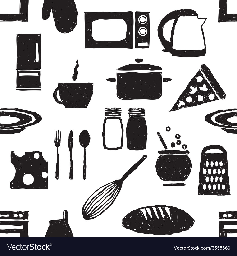 Doodle kitchen seamless pattern vector | Price: 1 Credit (USD $1)