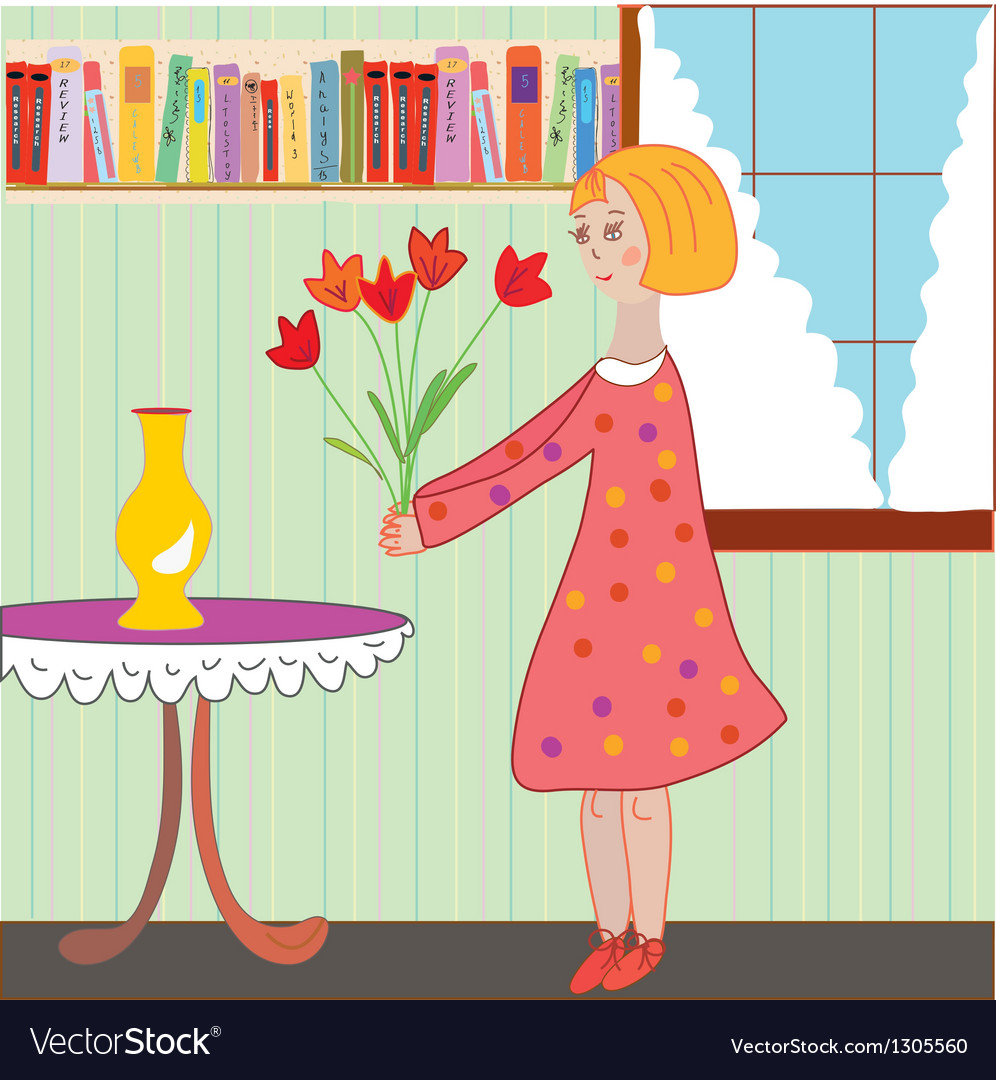 Girl child arranging flowers in the room vector | Price: 1 Credit (USD $1)